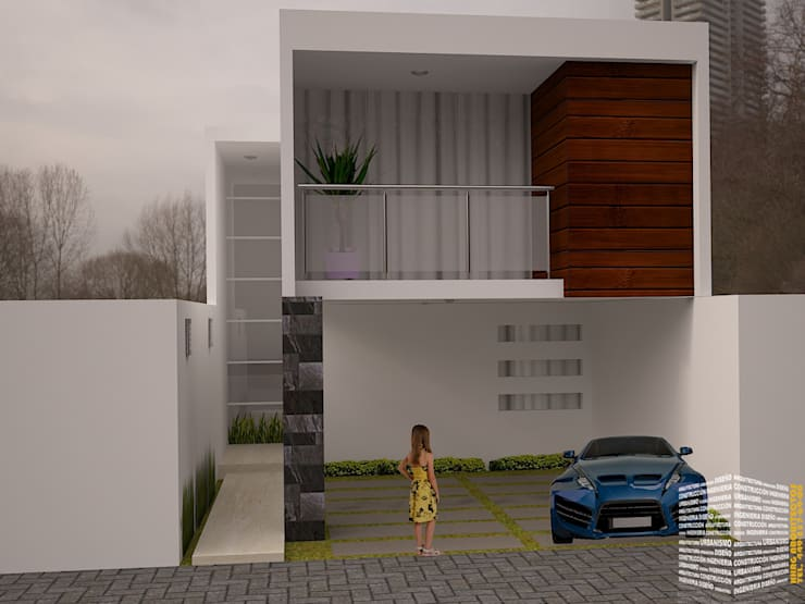 FACHADA CON BALCON: Casas unifamiliares de estilo  por HHRG ARQUITECTOS