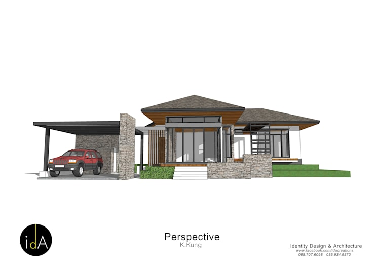บ้าน คุณกุ้ง:  บ้านระเบียง by Identity Design & Architecture Part.,Ltd