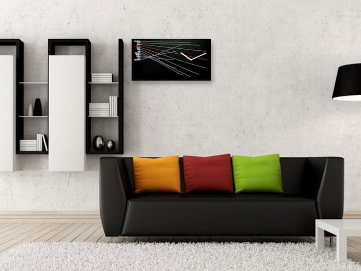 Progetti Timeline Wall Clock Black:  Living room by Just For Clocks