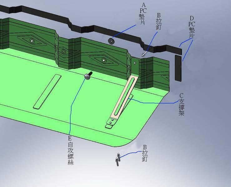 浪板防掀補強飾條遮陽雨架 :   by 鉅玹科技企業開發有限公司