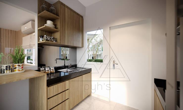 บ้านเดี่ยว Villagio Bangna:  ครัวบิลท์อิน by pyh's interior design studio