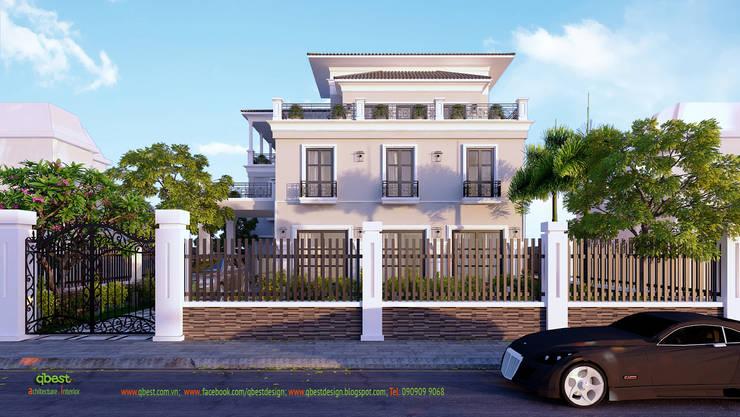 Mặt đứng hướng ra đường:  Biệt thự by Công ty TNHH Thiết Kế và Ứng Dụng QBEST