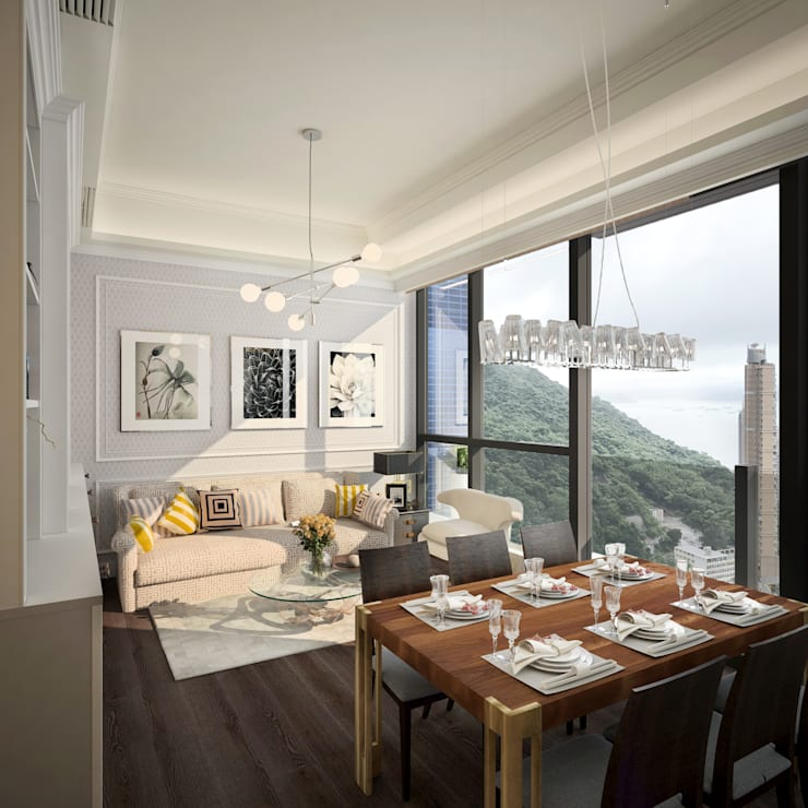 The Hudson 浚峯 | Kennedy Town 堅尼地城 :  Living room by Nelson W Design, Classic