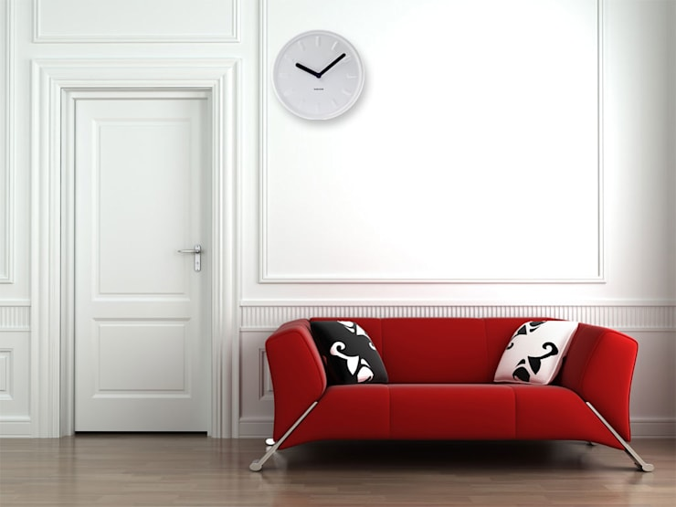 Karlsson Ceramic Station Clock White:  Living room by Just For Clocks