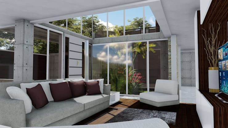 Casa Villa Nueva, El Hatillo. Caracas: Salas / recibidores de estilo  por Arquitectura Creativa