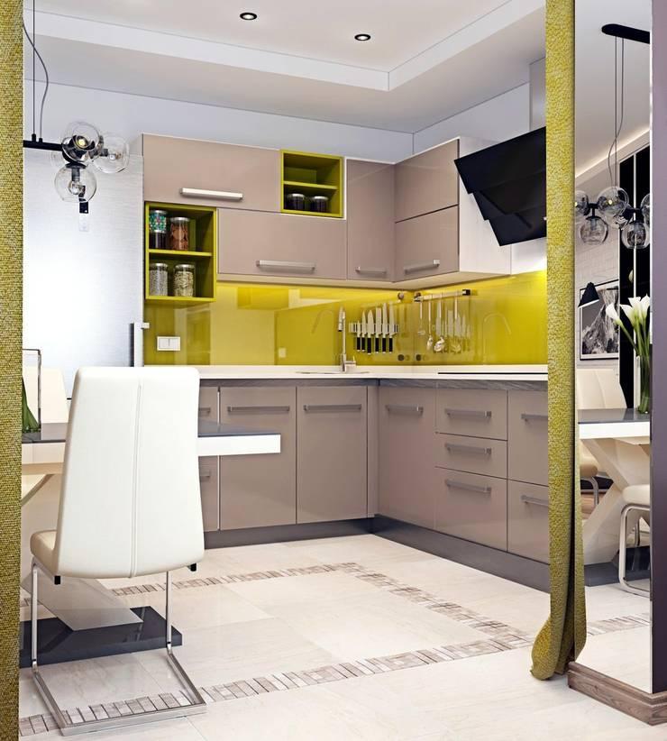 Дизайн 2к.кв. в ЖК Черемушки 2 (74 кв.м.): Кухни в . Автор – ДизайнМастер, Модерн