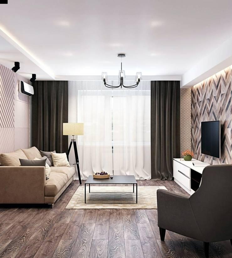 Дизайн 2к.кв. в ЖК Черемушки 2 (74 кв.м.): Гостиная в . Автор – ДизайнМастер, Модерн