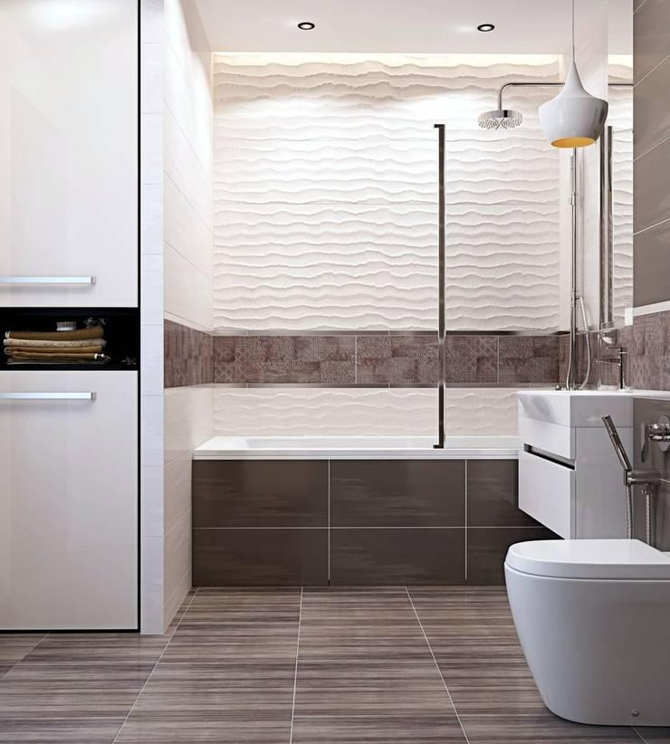 Дизайн 2к.кв. в ЖК Черемушки 2 (74 кв.м.): Ванные комнаты в . Автор – ДизайнМастер, Модерн