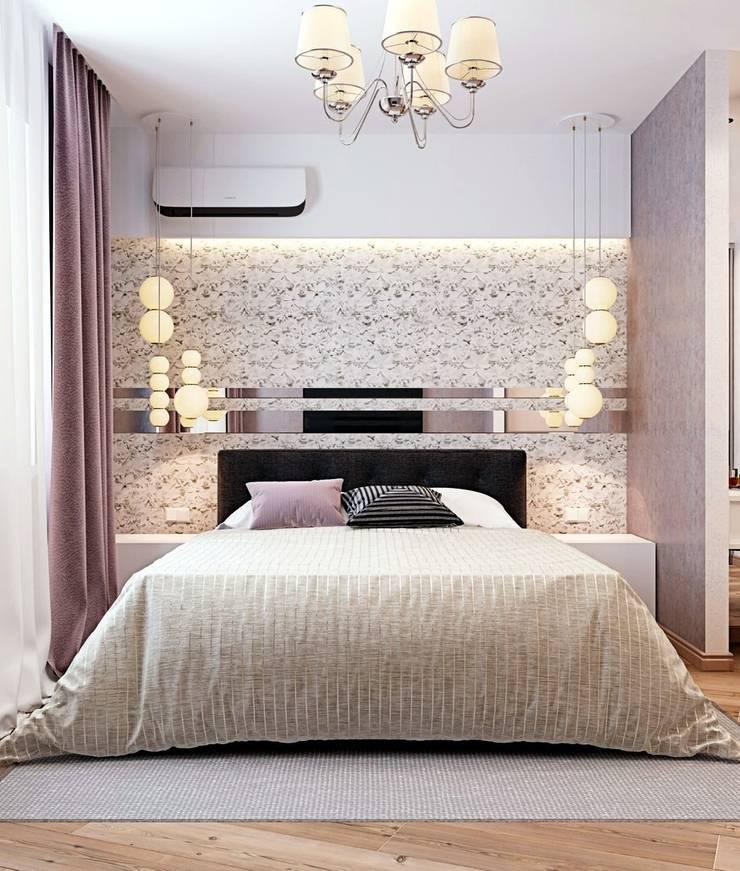 Дизайн 2к.кв. в ЖК Черемушки 2 (74 кв.м.): Спальни в . Автор – ДизайнМастер, Модерн