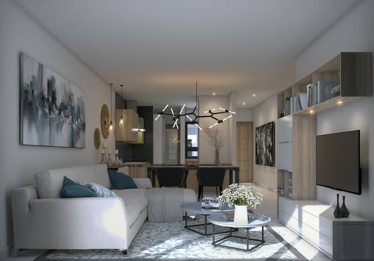 Vista Sala y Comedor: Salas de estilo moderno por Fi Arquitectos