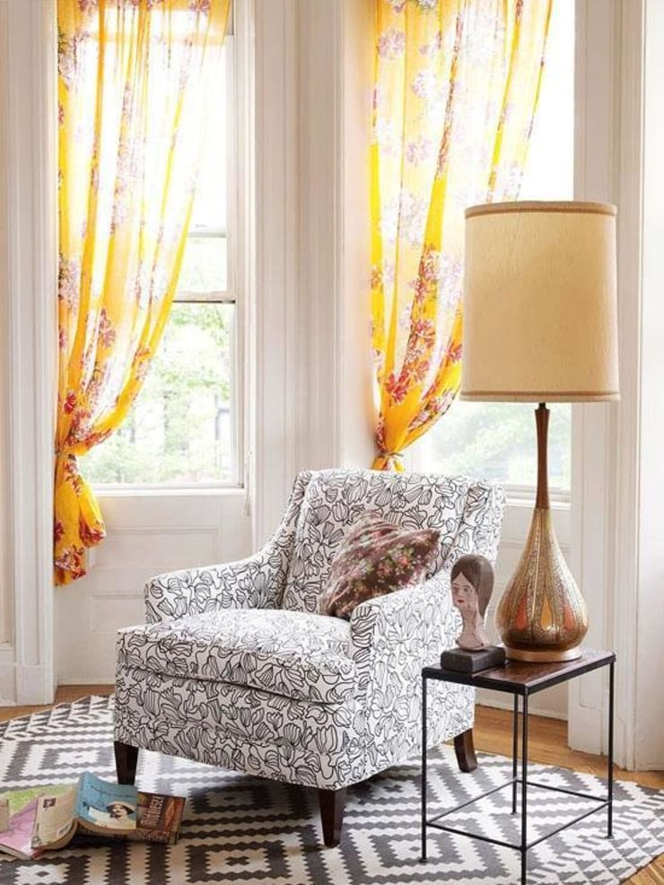 Vibrant Curtains :  Living room by Spacio Collections