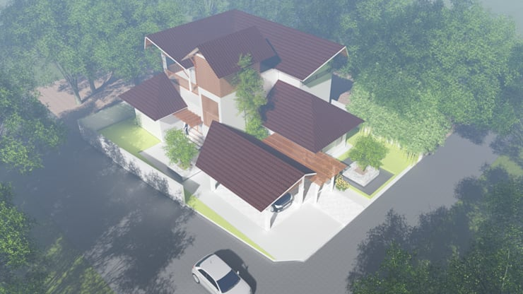ANIL KUMAR RESIDENCE:  Gable roof by GREENcanopy innovations,Tropical
