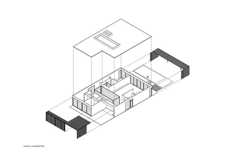 Axonométrica: Casas de estilo moderno por Luciano Kruk arquitectos