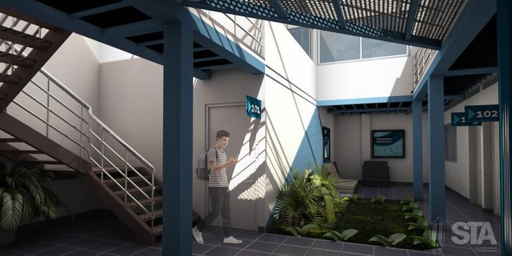 Patio Interior 1er Nivel: Escuelas de estilo  por Soluciones Técnicas y de Arquitectura , Moderno