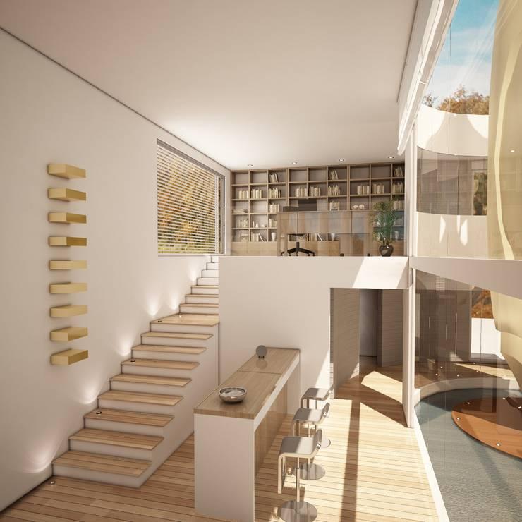 Vista Estudio y Bar: Estudios y oficinas de estilo minimalista por Fi Arquitectos