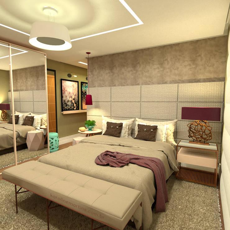 Suite de casal - Bonifácio: Quartos  por Karoline Martins - Arquitetura & Interiores