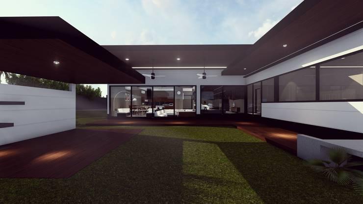 FACHADA POSTERIOR: Casas de estilo  por BOCA ARQUITECTOS