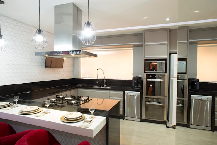 Cozinha Gourmet: Cozinhas  por Natália Sundfeld Arquitetura,Moderno