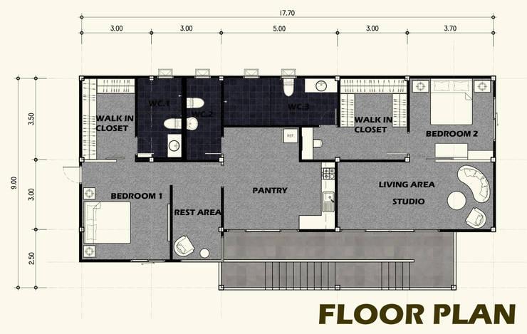 บ้านพักสไตล์สตูดิโอ ยกพื้นสูง TYPE A:   by PRECIO HOUSE