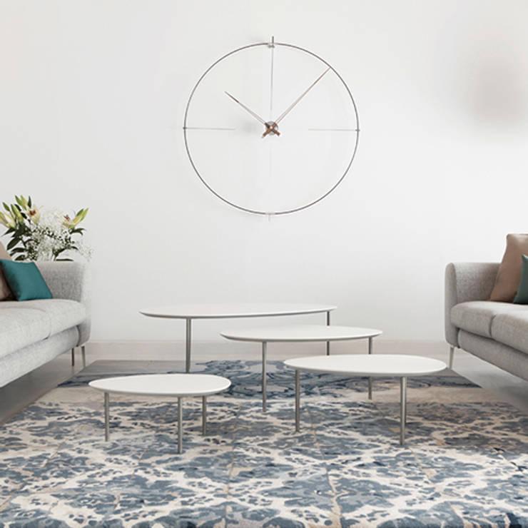 Nomon Bilbao Clock - Walnut & Steel:  Living room by Just For Clocks