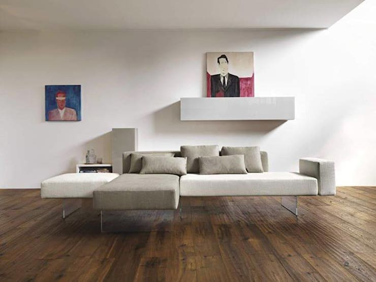Alchemy of White and Wood:  Living room by Spacio Collections