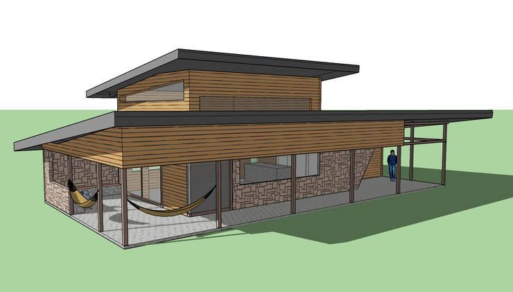 QUINCHO Pucón: Casas unifamiliares de estilo  por AEG Arquitectura, Asesoría y Construcción.