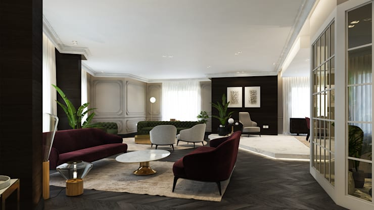 colonial Living room by ICONIC DESIGN STUDIO