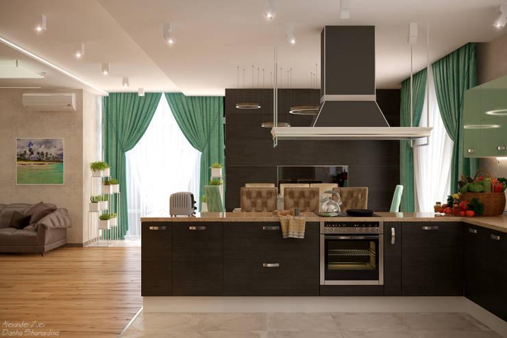 Дизайн кухни-гостиной-коридора в стиле модернизм в доме  в пос. Старобжегокай, г.Краснодар: Кухни в . Автор – Студия интерьерного дизайна happy.design, Модерн