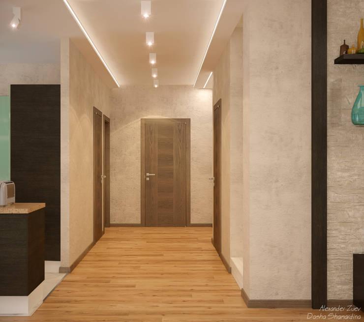 Дизайн кухни-гостиной-коридора в стиле модернизм в доме  в пос. Старобжегокай, г.Краснодар: Коридор и прихожая в . Автор – Студия интерьерного дизайна happy.design, Модерн