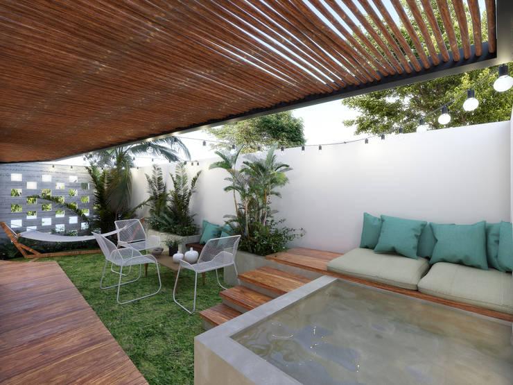 Terraza privada PB: Terrazas de estilo  por Taller Veinte