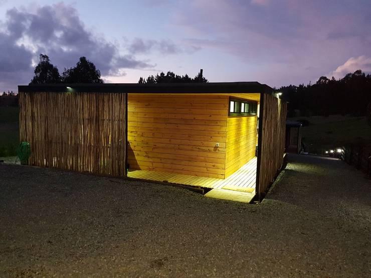 Fachada Sur - Doble Piel: Cabañas de estilo  por Nido Arquitectos