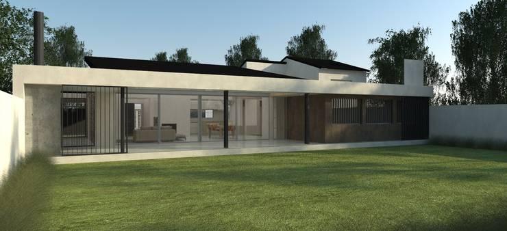 Fachada Posterior: Casas unifamiliares de estilo  por IMAGENES MR,
