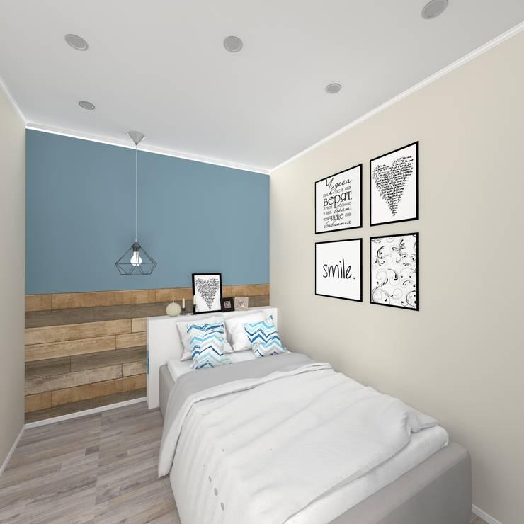 Дизайн проект однокомнатной квартиры для молодой семьи.: Спальни в . Автор – ARTWAY центр профессиональных дизайнеров и строителей, Минимализм