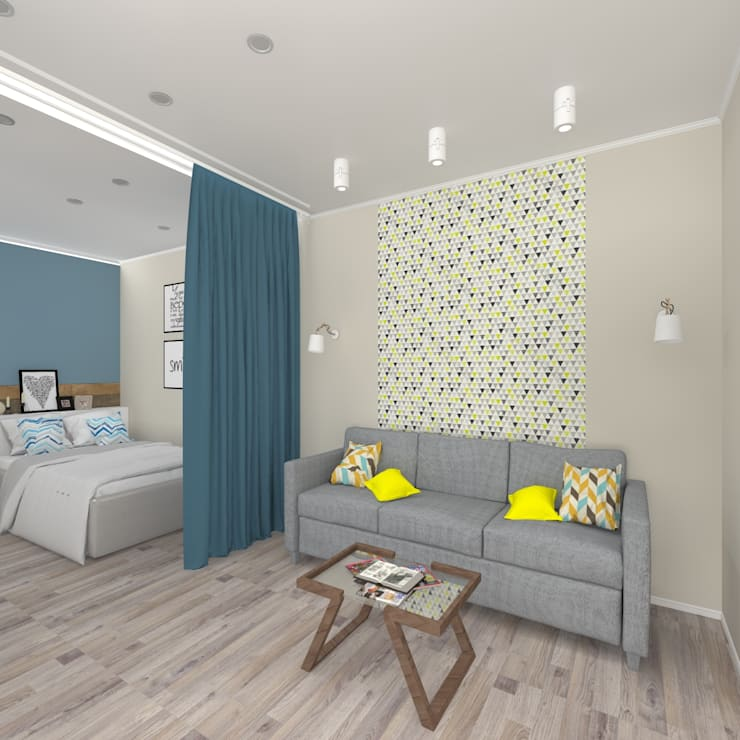 Дизайн проект однокомнатной квартиры для молодой семьи.: Гостиная в . Автор – ARTWAY центр профессиональных дизайнеров и строителей, Минимализм