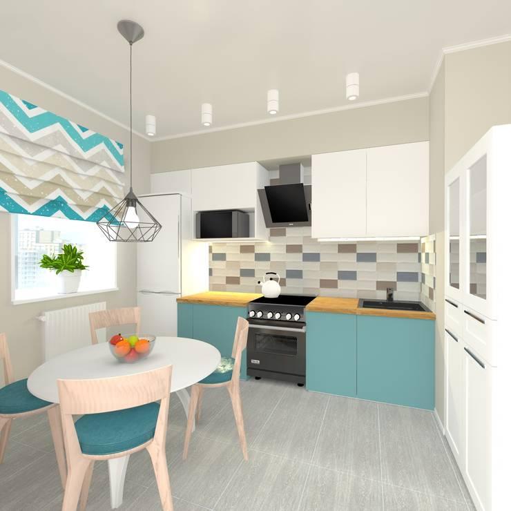 Дизайн проект однокомнатной квартиры для молодой семьи.: Кухни в . Автор – ARTWAY центр профессиональных дизайнеров и строителей, Минимализм