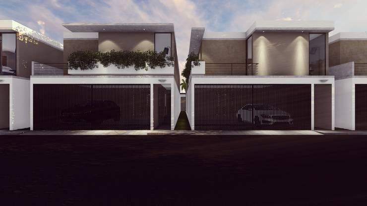 FACHADA PRINCIPAL: Casas unifamiliares de estilo  por BOCA ARQUITECTOS