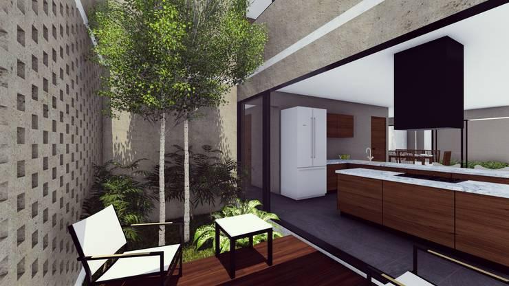 CUBO DE LUZ: Jardines de estilo moderno por BOCA ARQUITECTOS