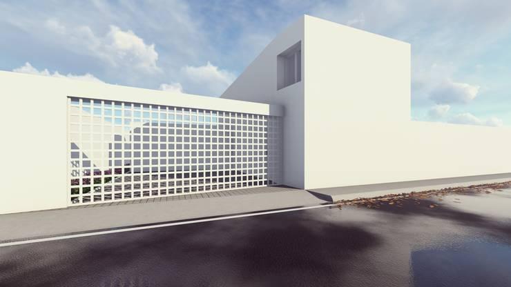 PERSPECTIVA FACHADA PRINCIPAL: Casas unifamiliares de estilo  por BOCA ARQUITECTOS