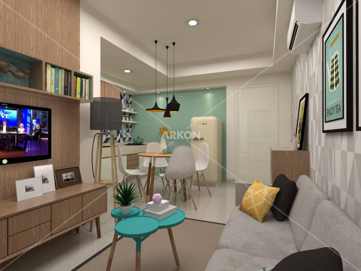 3D Apartment Trivium Terace, Cikarang Bekasi:  Living room by ARKON