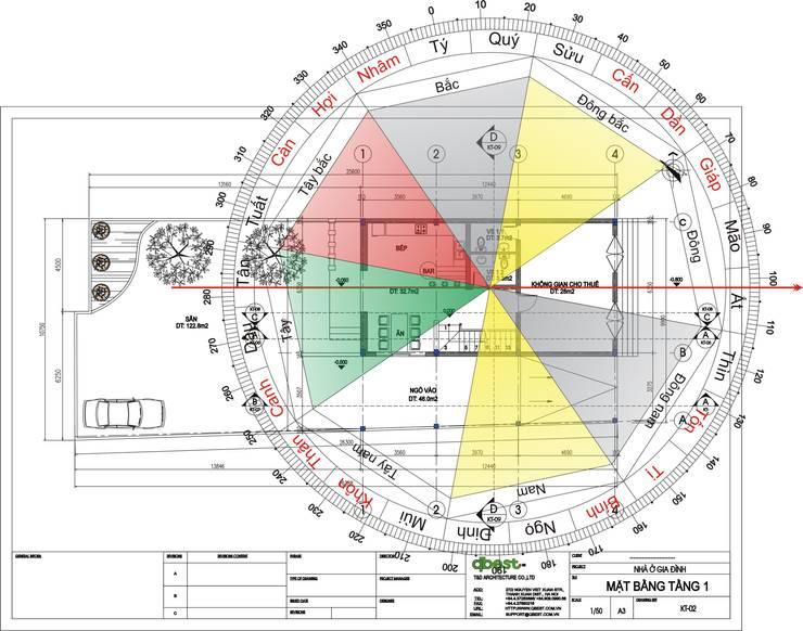 Mặt bằng phân cung phong thủy T1:   by Công ty TNHH Thiết Kế và Ứng Dụng QBEST