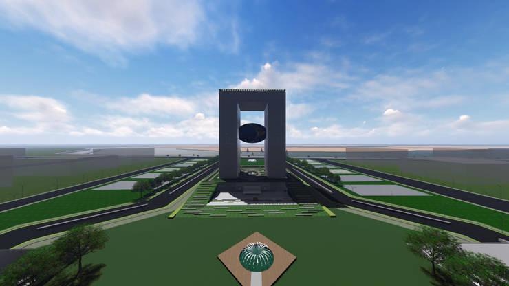 Architecture visualisation for APNRT Icon building long front view:   by Srushti VIZ
