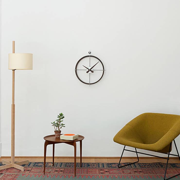 Nomon Dos Puntos Clock - Walnut & Steel: modern Living room by Just For Clocks
