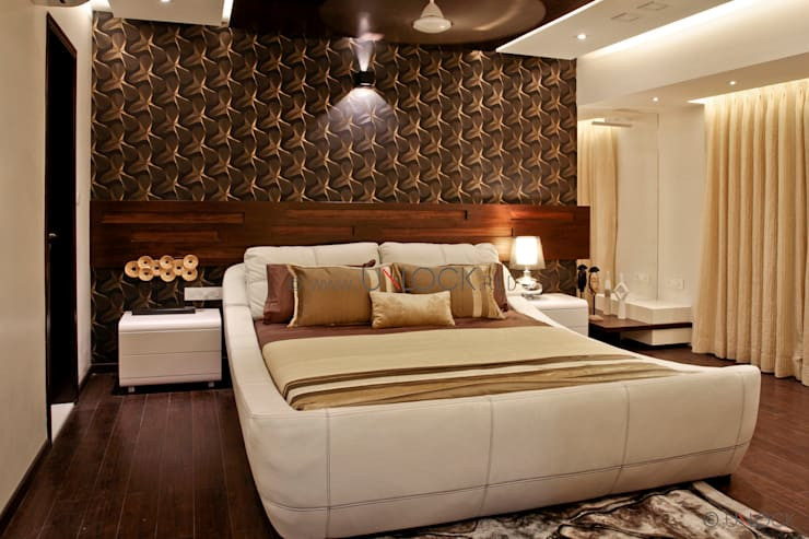 masculine retreat:  Bedroom by UNLOCK ©™,Modern Solid Wood Multicolored