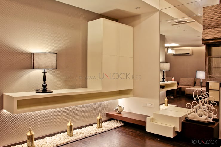 master bedroom tv unit:  Bedroom by UNLOCK ©™,Modern MDF