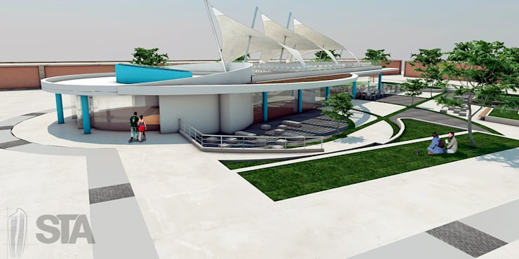 Vista Peatonal 1 Salon de usos Multiples- Tecsup Pre-Anteproyecto: Escuelas de estilo  por Soluciones Técnicas y de Arquitectura