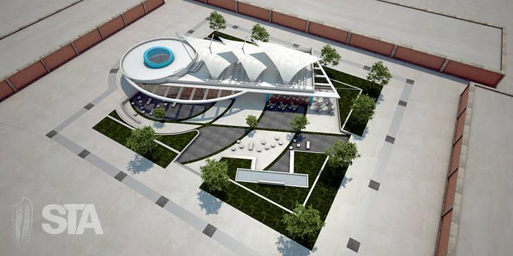 Vista Aérea Salon de usos Multiples- Tecsup Pre-Anteproyecto: Escuelas de estilo  por Soluciones Técnicas y de Arquitectura ,
