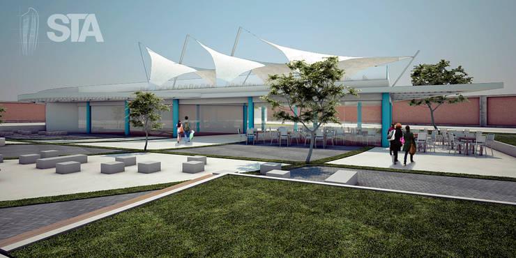 Vista Peatonal 2 Salon de usos Multiples- Tecsup Pre-Anteproyecto: Escuelas de estilo  por Soluciones Técnicas y de Arquitectura ,