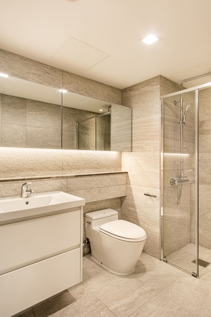 안방욕실: 영보디자인  YOUNGBO DESIGN의  욕실,