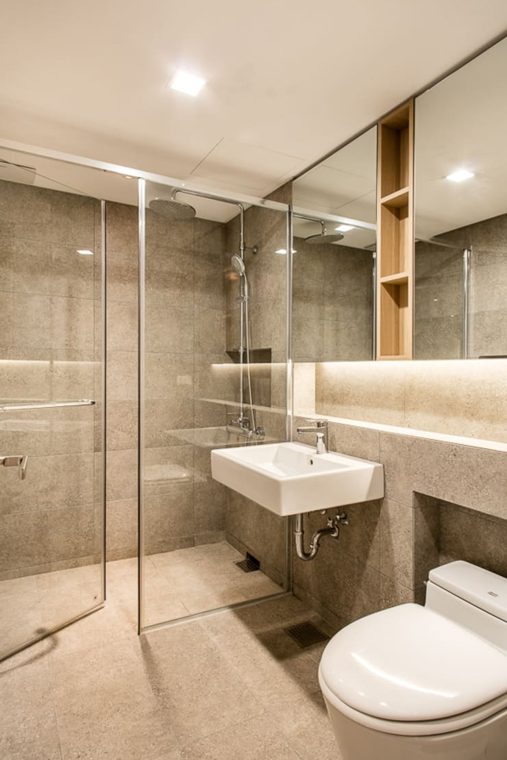 거실욕실: 영보디자인  YOUNGBO DESIGN의  욕실,