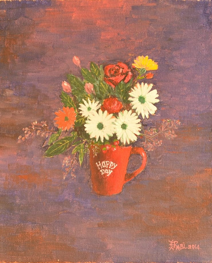 Flowers in cup: asian  by Indian Art Ideas,Asian
